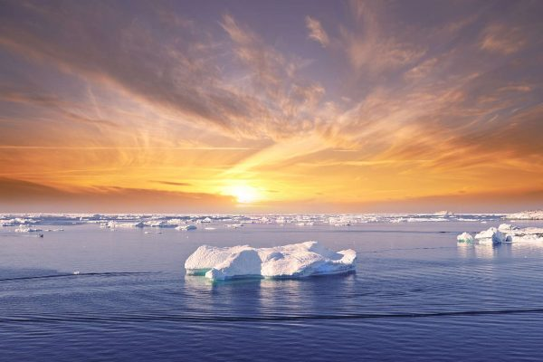 greenland disko bay sunset over ice floes near ilulissat istk