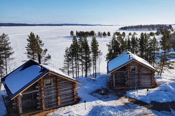 finnish lapland outside inari log cabin