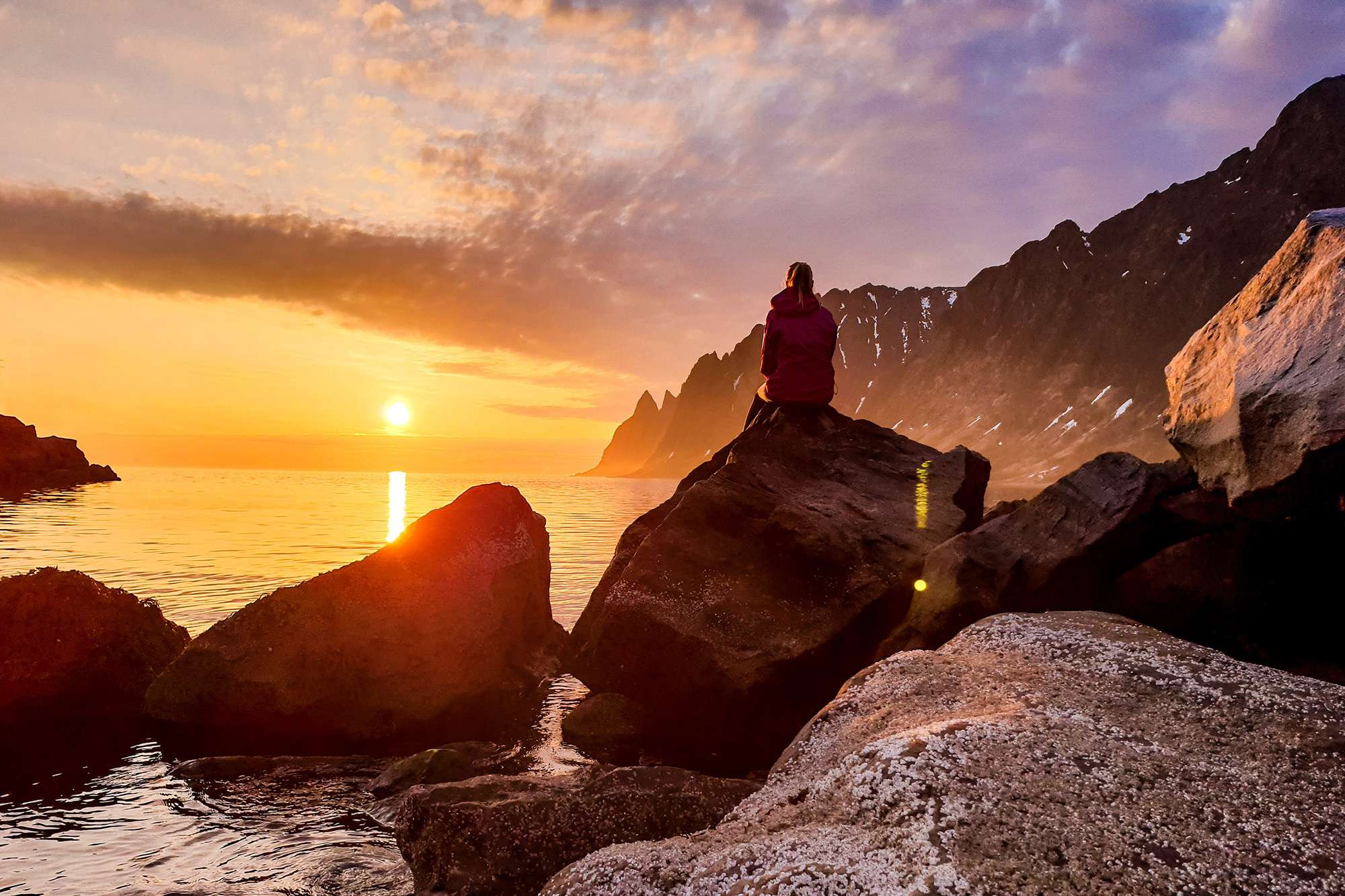 norway senja dawn golden hour lone figure