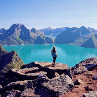 norway senja hiker enjoying the view istk