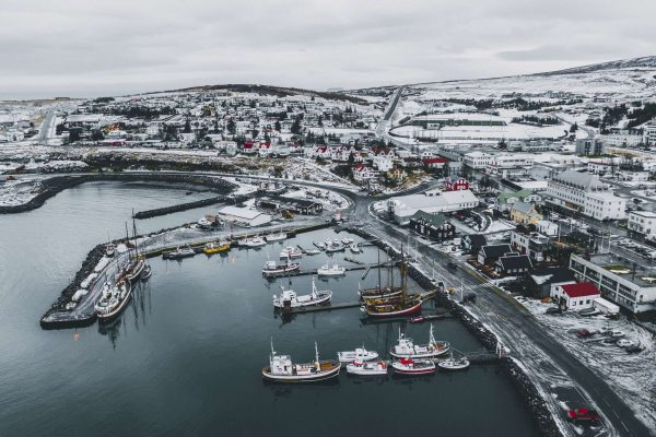 north iceland aerial view of husavik harbour winter istk