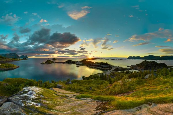 northern hamn i senja view with sunset