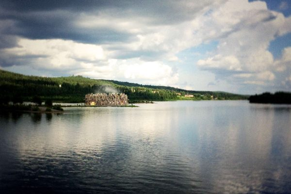 sweden arctic bath summer lake view