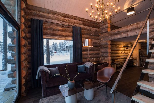 swedish lapland arctic retreat cabin open plan interior