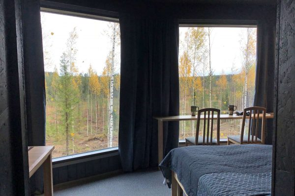 finland luxury bear watching cabin interior as