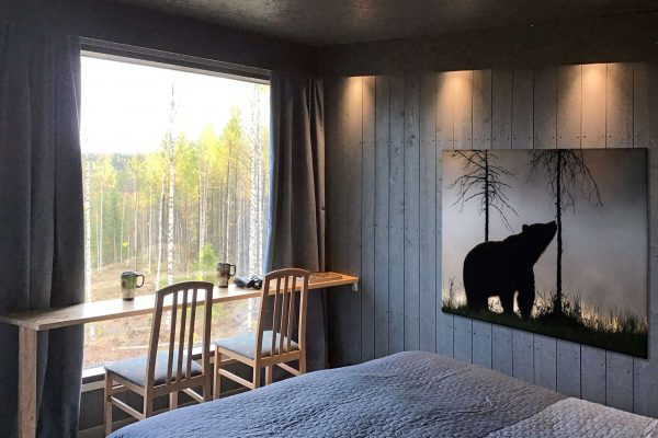 finland luxury bear watching cabin interior view as