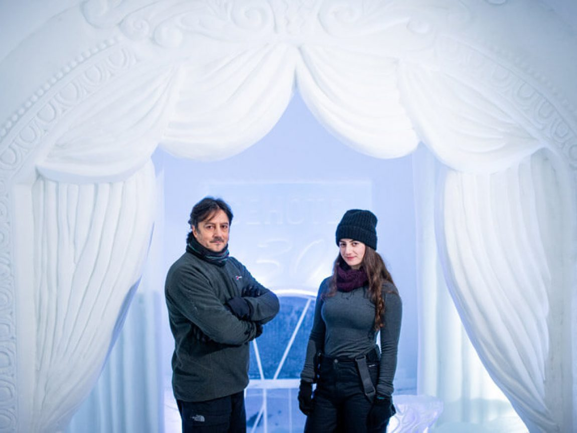 icehotel30 artists jonathan and marnie green of night at the theatre ak