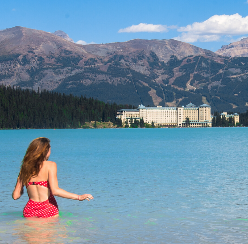 Swimming in Lake Louise
