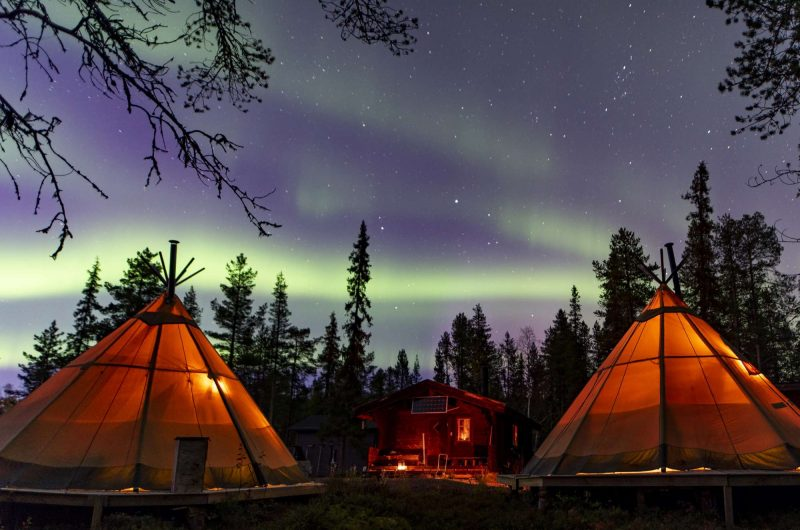 swedish lapland sapmi nature camp northern lights