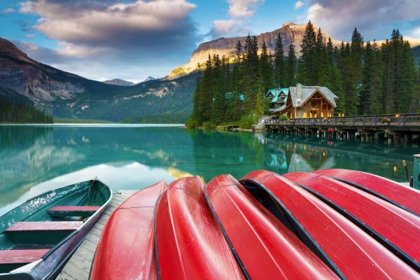 british columbia emerald lake lodge canoes istk iStock