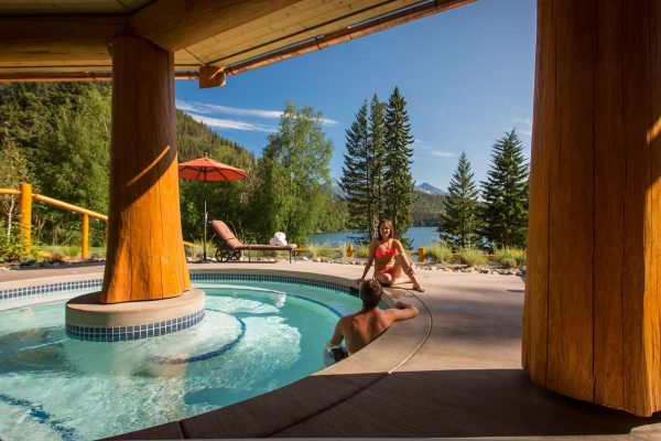 british columbia tyax lodge hot tub view