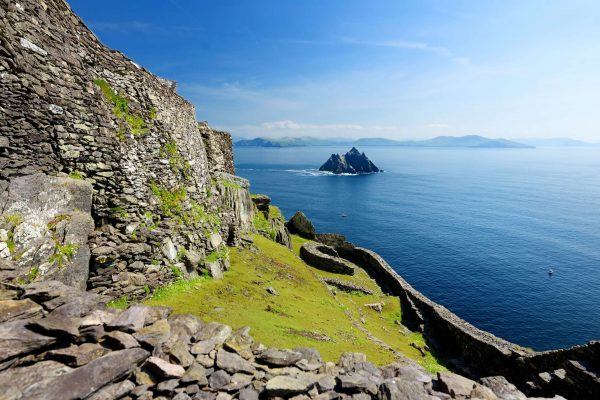ireland view of little skellig from skellig michael monastery ruins istk