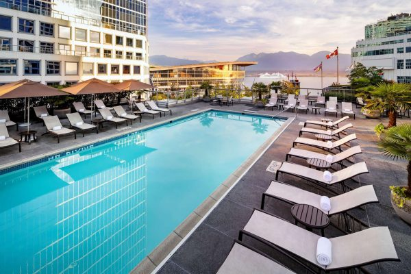 bc fairmont waterfront outdoor heated pool view