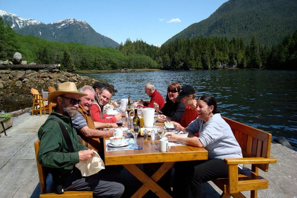 british columbia great bear lodge outdoor dining