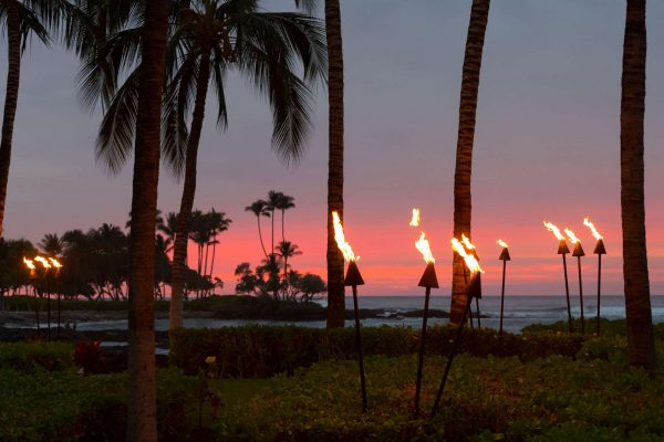 hawaii fairmont orchid big island evening torches