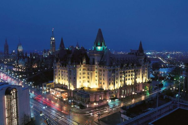 ontario fairmont chateau laurier ottawa exterior night view