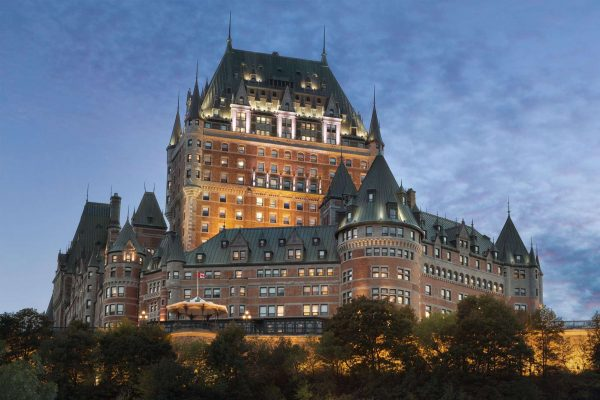 quebec fairmont chateau frontenac exterior evening