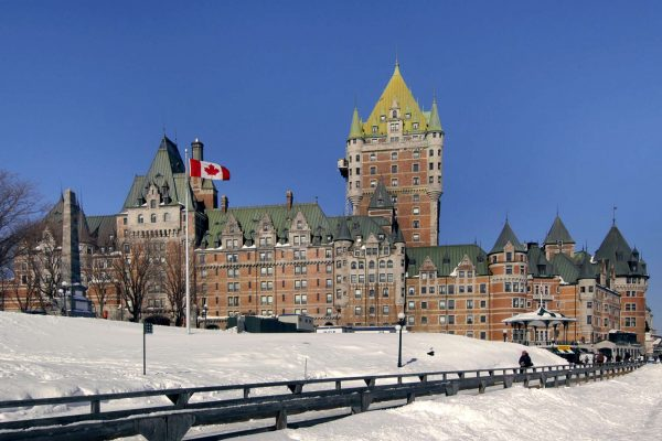 quebec fairmont chateau frontenac exterior winter