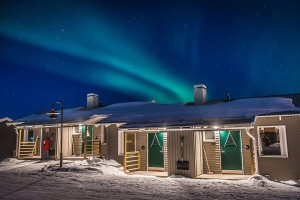 sweden camp ripan cabins with aurora