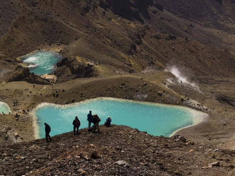 new zealand tongariro national park emerald lakes hikers istk