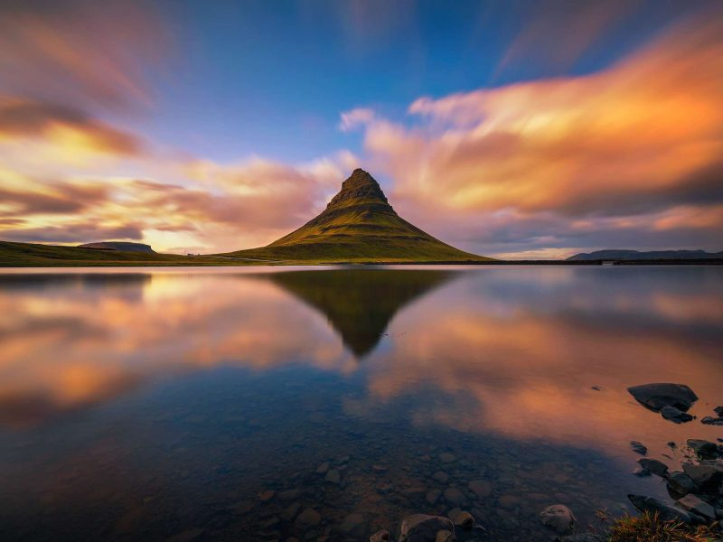 iceland snaefellsnes kirkjufell sunset reflection istk