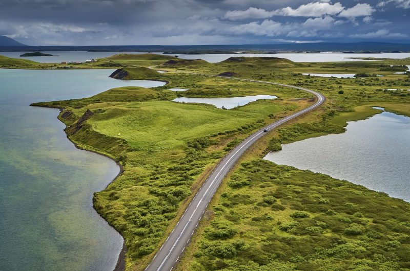 Aerial view over Lake Myvatn