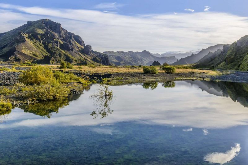 iceland thorsmork mountains reflected in river istk