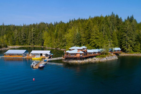 farewell harbour lodge and dock aerial