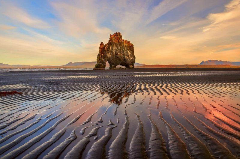 north iceland hvitserkur view from beach at sunset astk