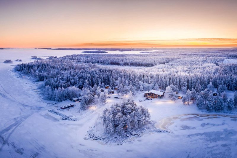 swedish lapland brandon lodge aerial view winter
