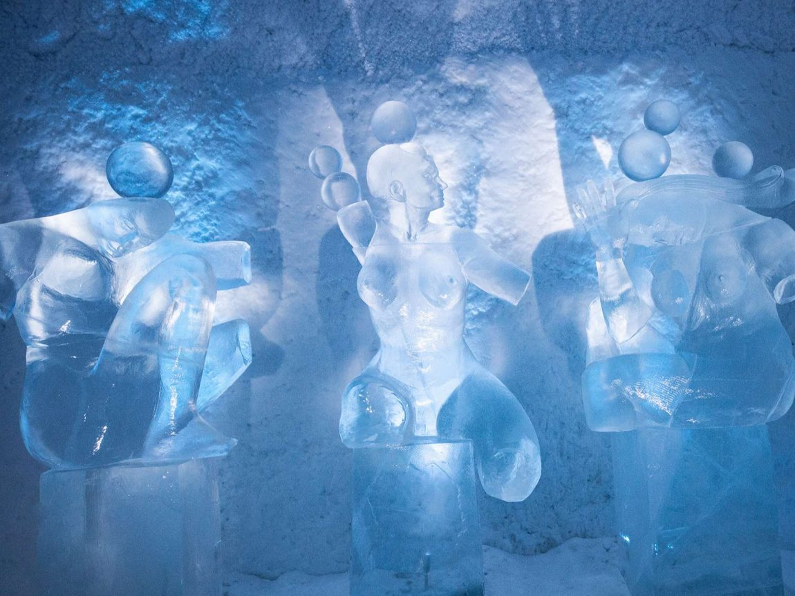 icehotel365 art suite hang loose ice sculptures ak