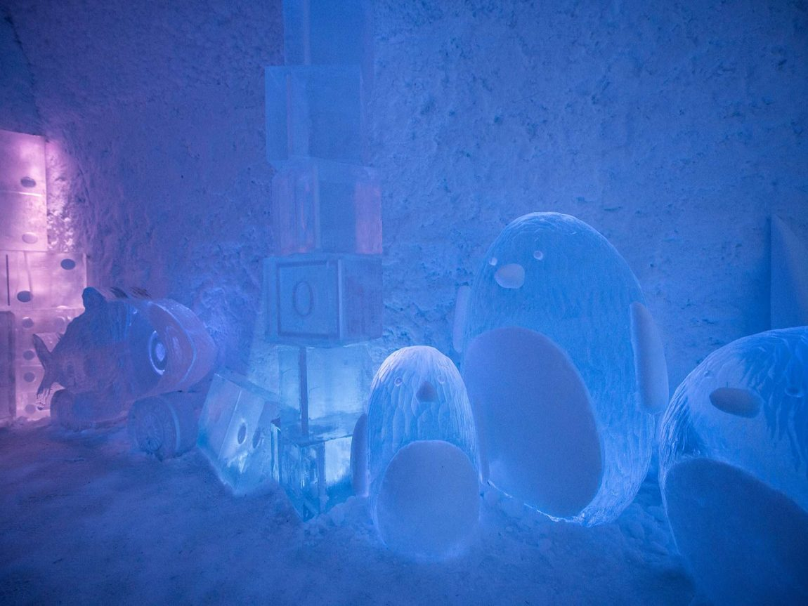 icehotel365 deluxe suite toybox ice sculptures ak