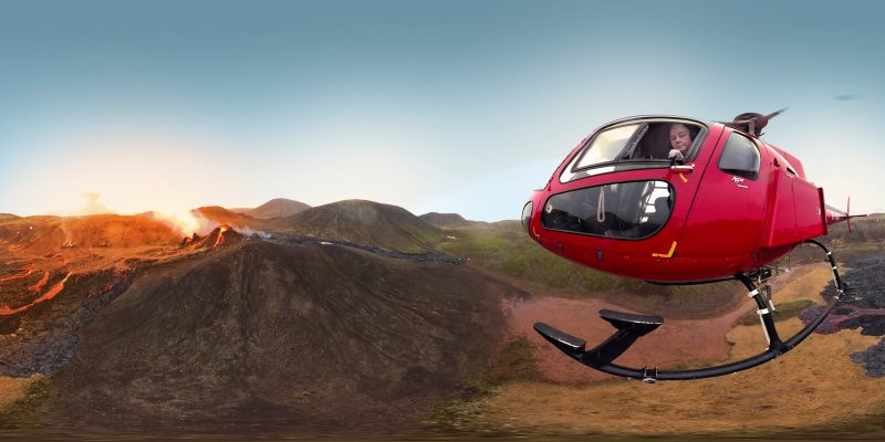 iceland fish eye view of helicopter over fagradalsfjall eruption rth sigurdsson