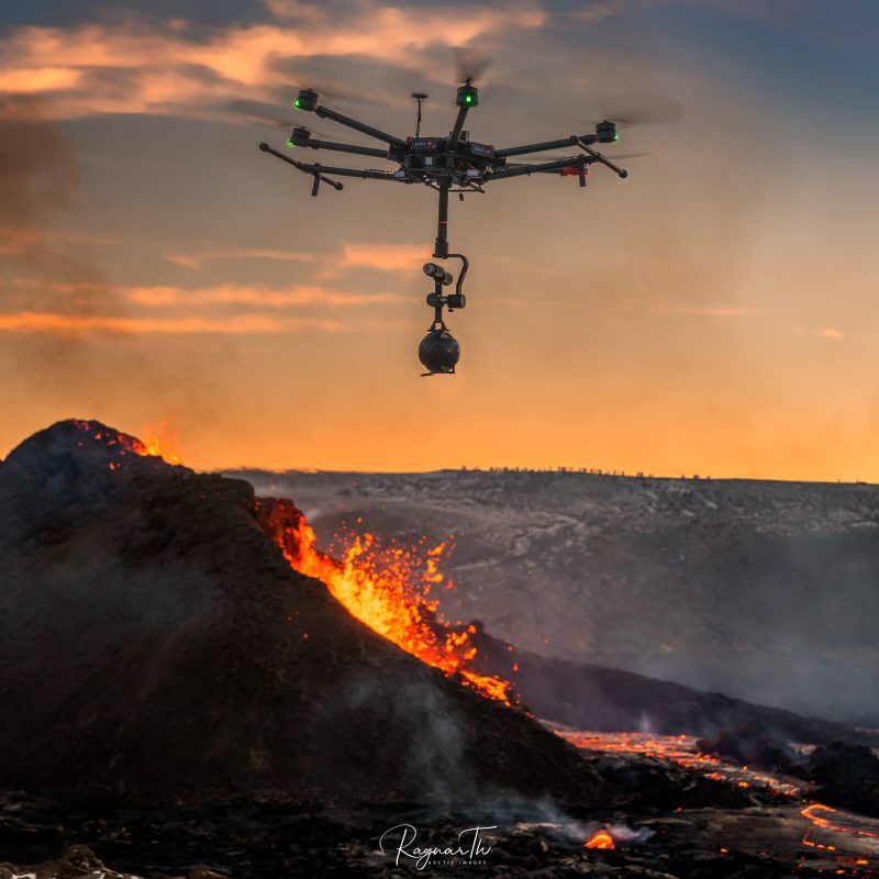 drone over fagradalsfjall eruption iceland apr21 by rth sigurdsson